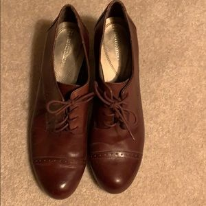 Brown Oxfor-Style Heels